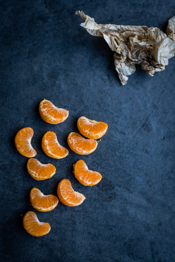 Clementines on slate table