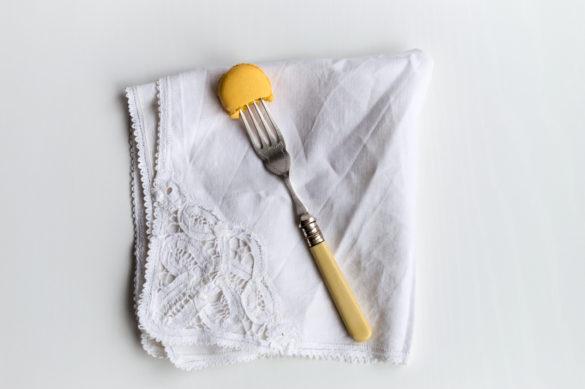 Macaron on Fork on Napkin