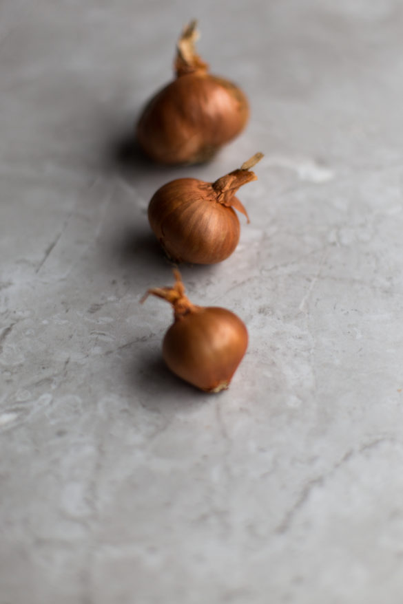 Shallots on table