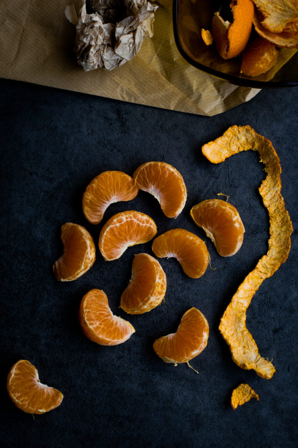 clementine segments on table