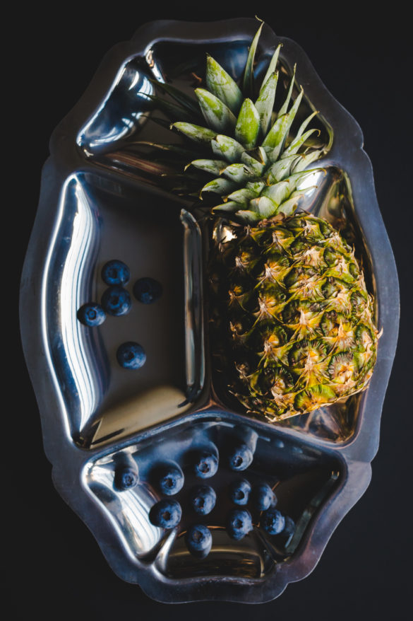 Pineapple on silver tray