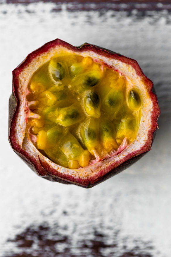 passionfruit half on table
