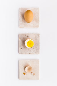 Boiled eggs on table