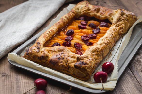 cherry and apricot galette on table