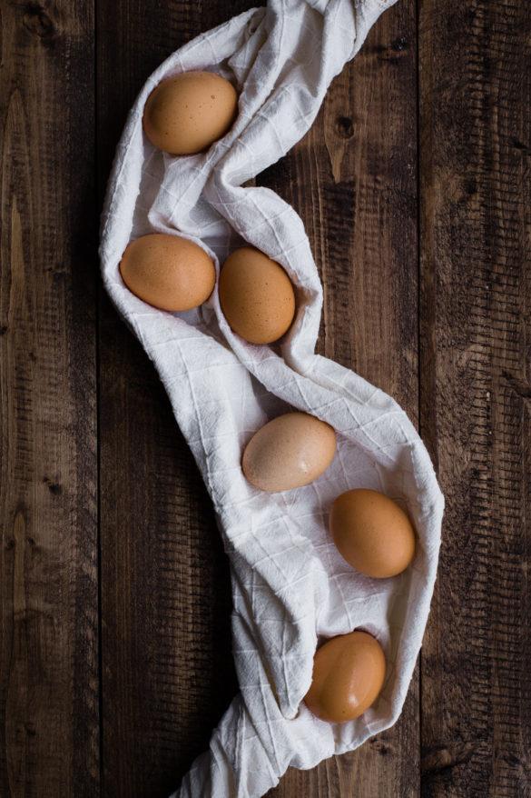 Free range eggs on table