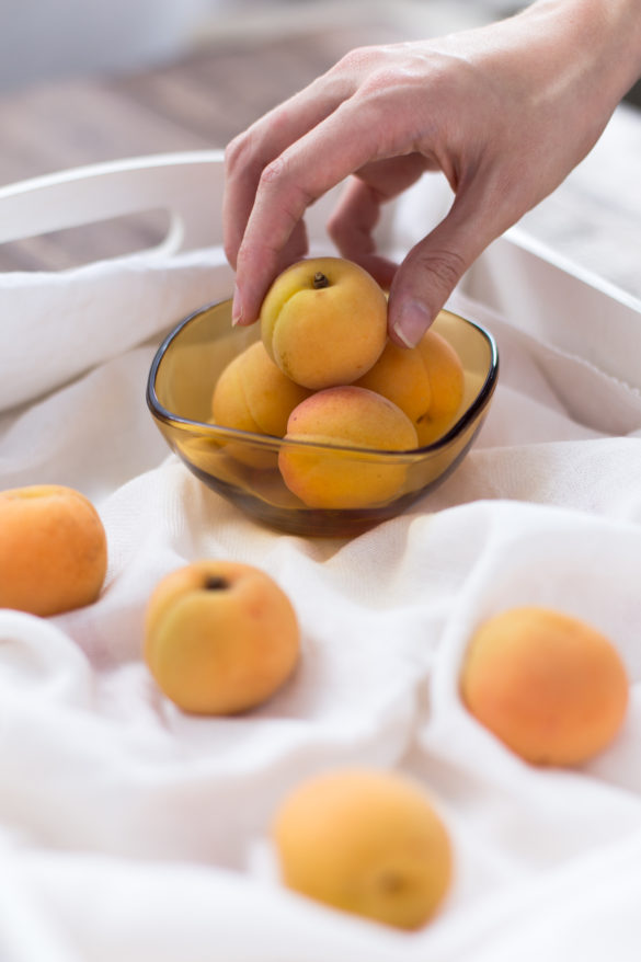 Apricot fruit in white tray