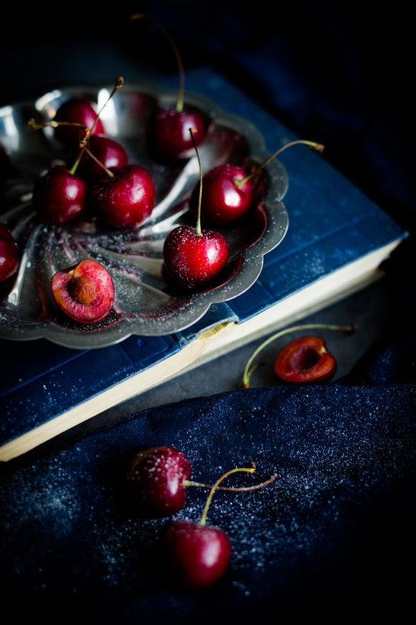 Cherries on silver platter