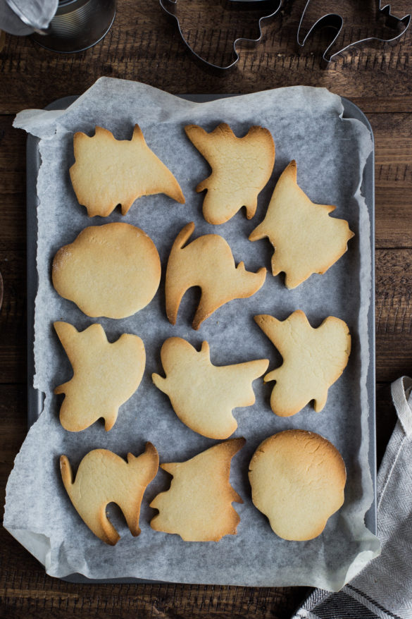 Halloween biscuits on baking tray