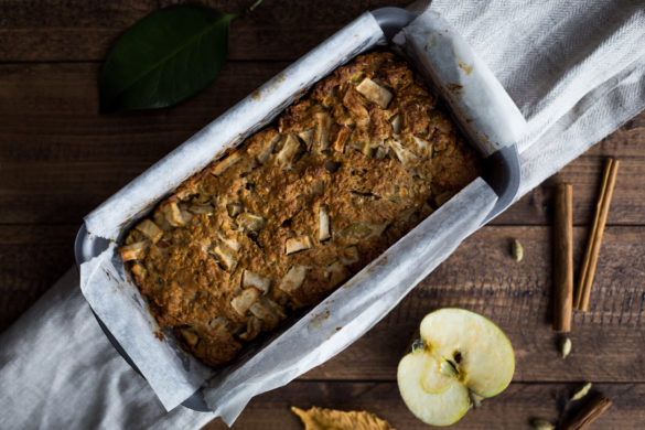 Apple and Cinnamon Loaf in tin on cloth