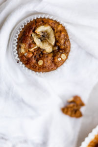 Banana and cashew cupcake on white napkin