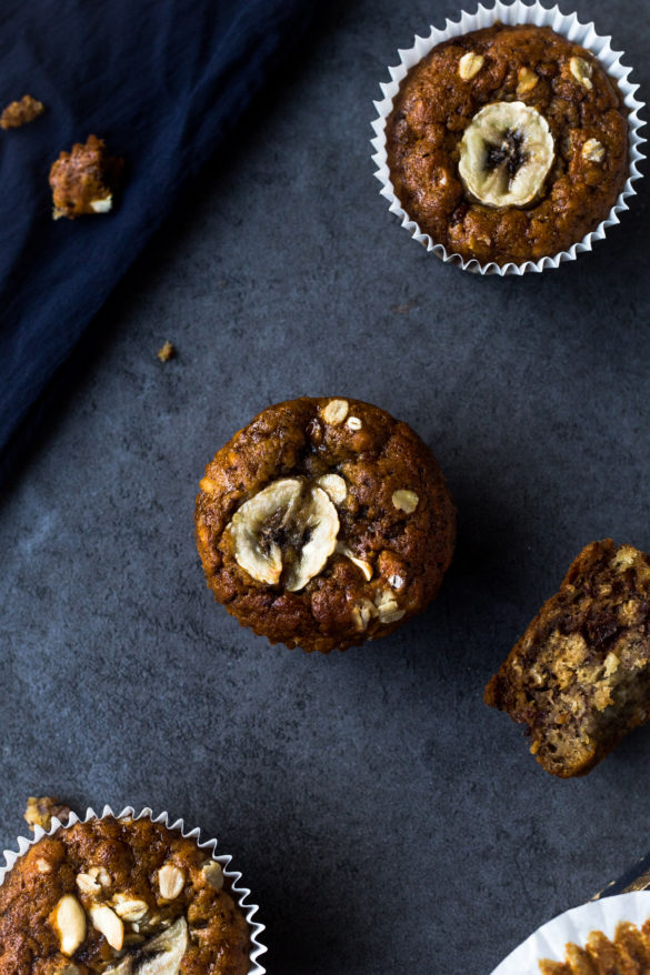 Banana and cashew muffins on table