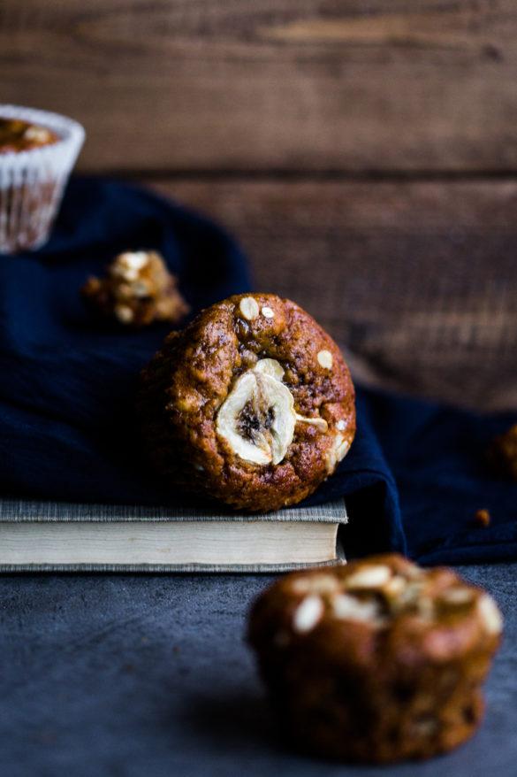 Banana muffins on table