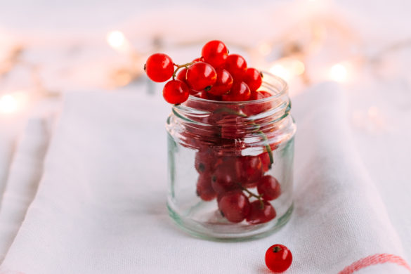 Redcurrant berries in Glass Jar with Fairy Lights