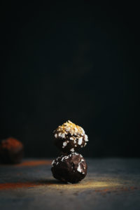 Dark Chocolate and Coconut Truffles on Slate