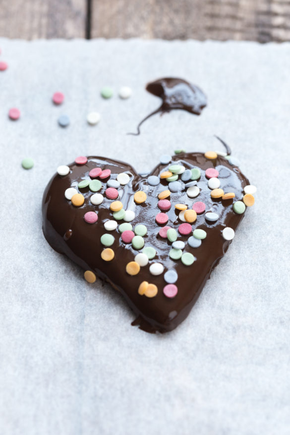 Chocolate Heart Biscuit with Colourful Candy Sprinkles