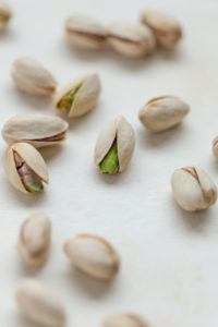 pistachio nuts on table