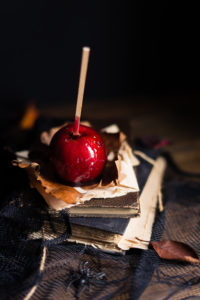 Halloween toffee apple on table