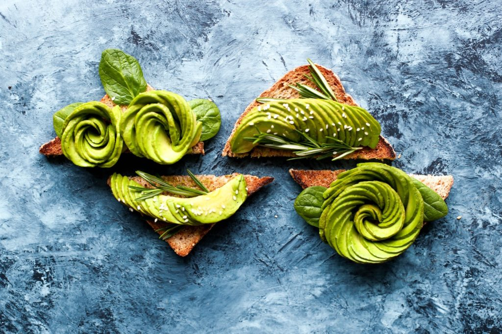 trending food of avocado on toast in food art style