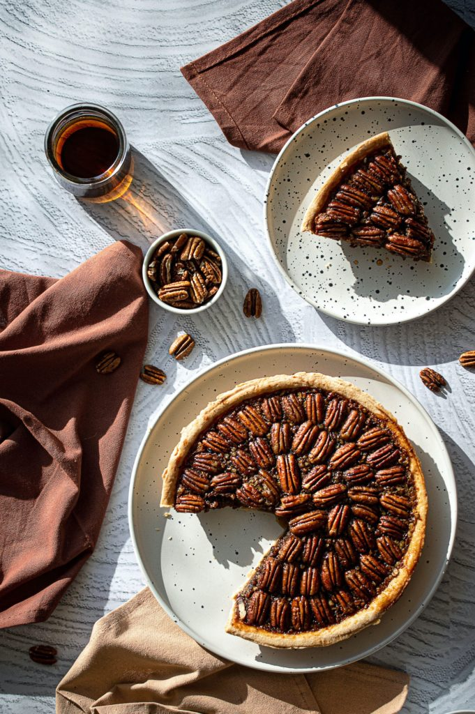 pecan pie in overhead composition